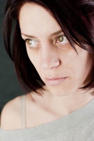 conceptual portrait of stressed abused young woman Stock Photo - 20133611