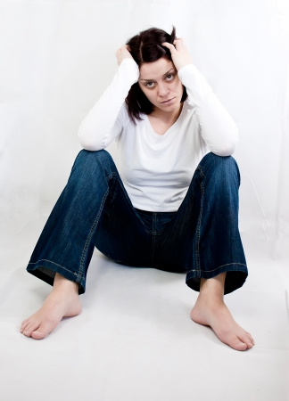 conceptual portrait of stressed abused young woman  Stock Photo - 20133674