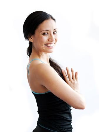 young brunette girl practising yoga isolated on white Stock Photo - 20661144