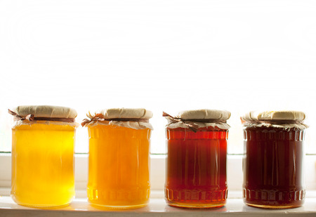 variety of raw organic honey bee products Stock Photo