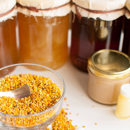 bee pollen: variety of raw organic honey bee products Stock Photo