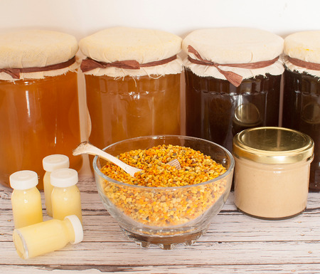 variety of raw organic honey bee products Stok Fotoğraf