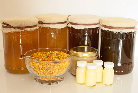 variety of raw organic honey bee products Stock Photo