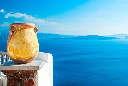 Oia Santorini Greece famous with romantic and beautiful sunsets photo