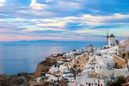 santorini greece: Oia Santorini Greece famous with romantic and beautiful sunsets