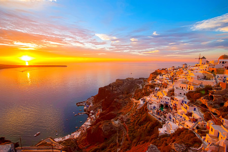 greece: Oia Santorini Greece famous with romantic and beautiful sunsets