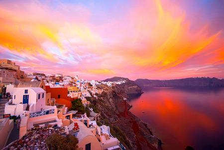 caldera: Oia Santorini Greece famous with romantic and beautiful sunsets