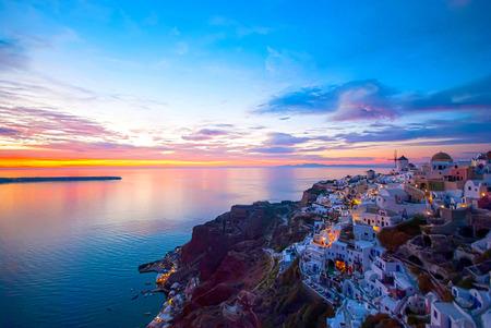 aegean sea: Oia Santorini Greece famous with romantic and beautiful sunsets