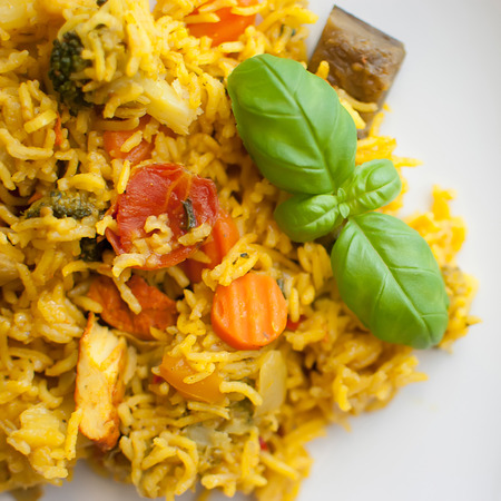 turmeric basmati rice with mediterranean vegetables and chicken photo