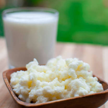 probiotic kefir drink made of milk and tibetan mushroom grains Stock Photo