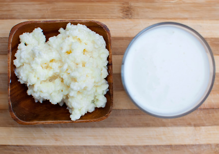kefir: probiotic kefir drink made of milk and tibetan mushroom grains Stock Photo