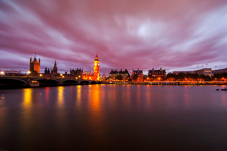 Big Ben and Houses of parliament at dusk, London, UK photo