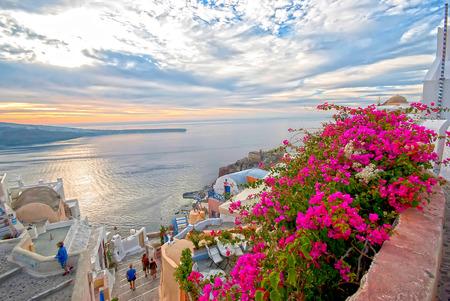 santorini caldera: Oia Santorini Greece famous with beautiful romantic sunsets