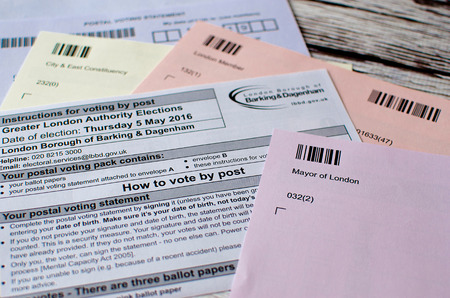 electing: voting elections postal poll card London UK ballot papers Stock Photo