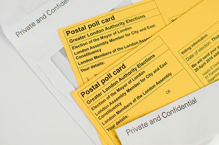 ballot papers: voting elections postal poll card London UK ballot papers Stock Photo