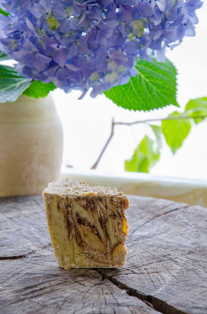 homemade oats and cinnamon soap using olive oil shea and cocoa butter Stok Fotoğraf