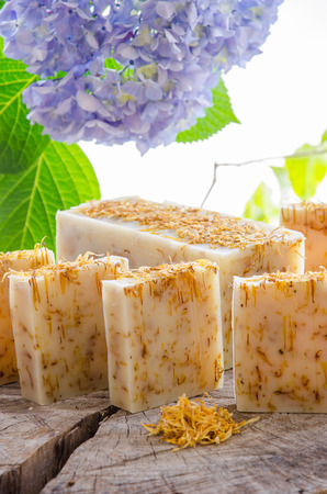 homemade calendula and tea tree herbal natural soap using olive oil shea and cocoa butter
