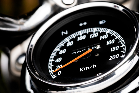 classic motorcycle mileage (dashboard , mileage) in white and black.classic motorcycle display odometer and fuel sign. Stock Photo - 122109441