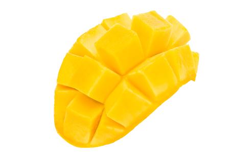 fresh ripe yellow mango split macro close up isolated on white background,Mango split fruit