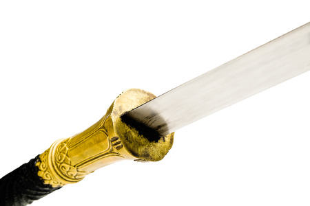 beautiful metal asian traditional sword from thailand isolated on white background , metal asian sword style