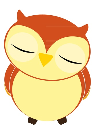 Vector illustration of cartoon owl sleeping