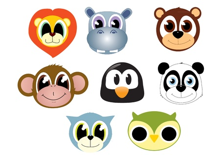 A set of cartoon animal heads faces