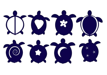 A set of Hawaiian turtle silhouettes Vector