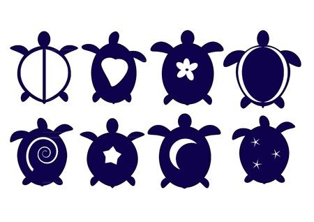 tortuga: Un conjunto de siluetas de tortugas de Hawai