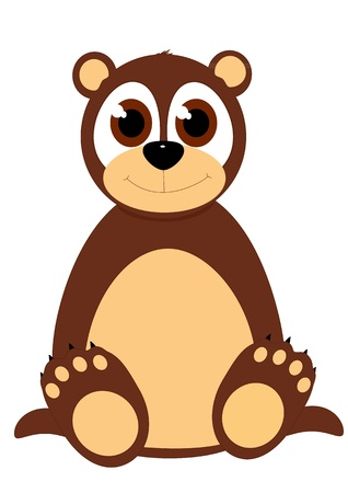 Cartoon vector bear sitting down Illustration