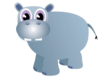 Vector cartoon hippo Illustration