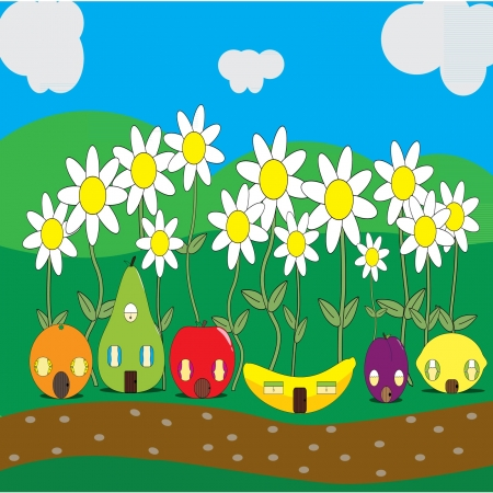 Vector illustration of cartoon fruit street and insects
