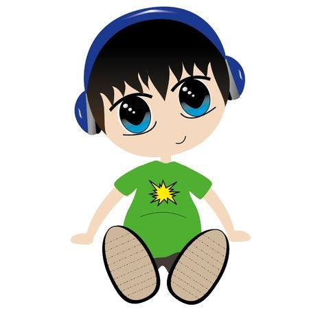 ojos anime: ilustraci�n de un ni�o escucha a los auriculares