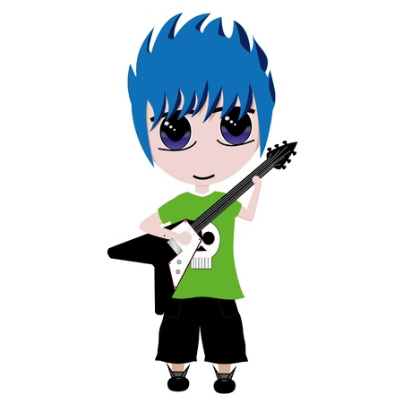 boy playing guitar: Isolated illustration of boy playing electric guitar