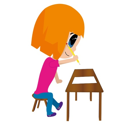 isolated of girl writing Illustration