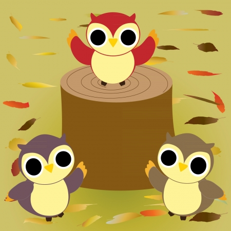 illustration of three owls at autumn