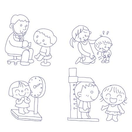 医師のオフィスで子供の手描き下ろし落書きスケッチ  イラスト・ベクター素材