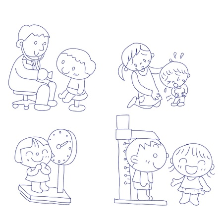 health check: hand drawn doodle sketch of children at doctors office