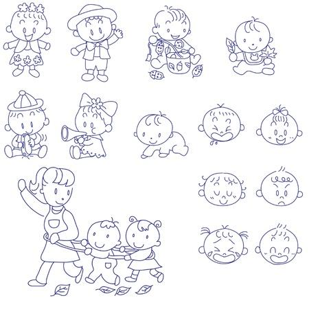 croquis dibujado a mano del doodle de los bebés y la madre
