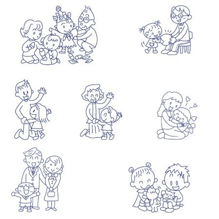 楽しい家族の手描き下ろし落書きスケッチ