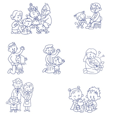 family playing: Hand drawn doodle sketch of families having fun Illustration