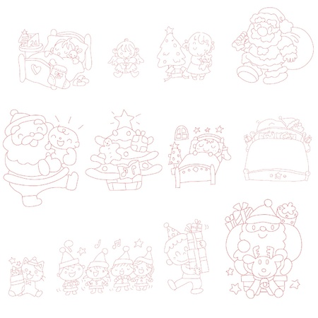 Hand drawn doodles of various Christmas Vector