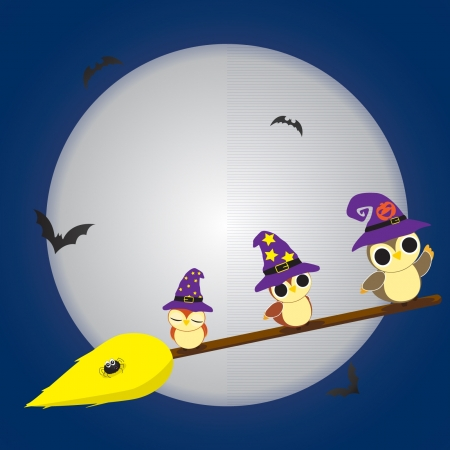 illustration of three owls during Halloween Vector
