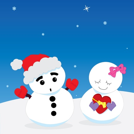 Vector illustration of cartoon snowman couple