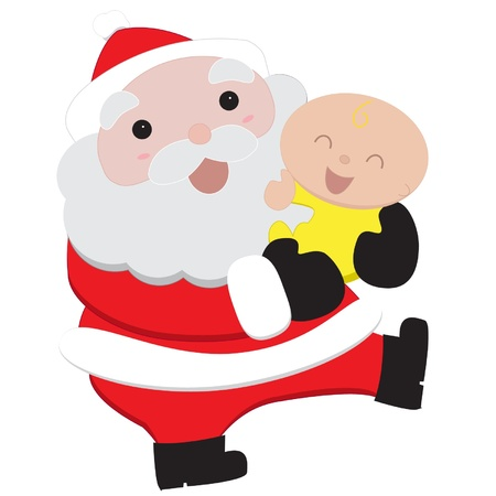 Isolated vector Santa and baby Stock Vector - 16026369