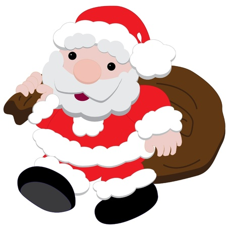 Isolated vector of Santa carrying sack of presents