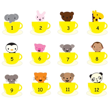 kids counting aid. Animals in cups  Vector
