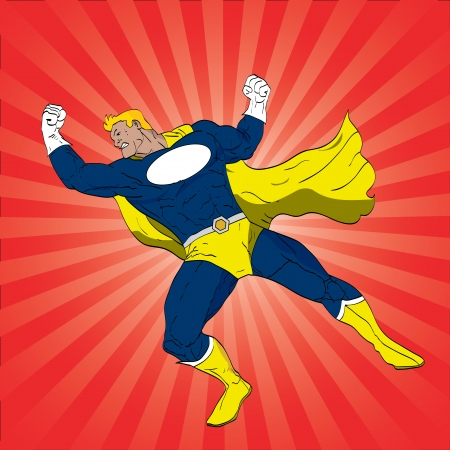 Vector illustration of a superhero punching