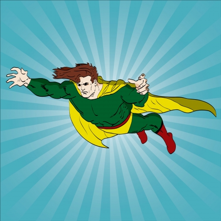 Vector illustration of a superhero flying