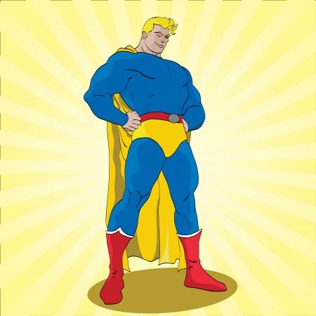 the villain: Hand drawn vector illustration of a super hero Illustration