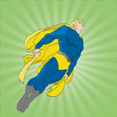 Hand drawn vector illustration of a super hero flying